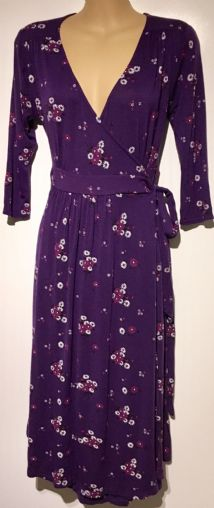 HEAVENLY BUMP PURPLE FLORAL WRAP MATERNITY/NURSING JERSEY DRESS SIZE UK 8